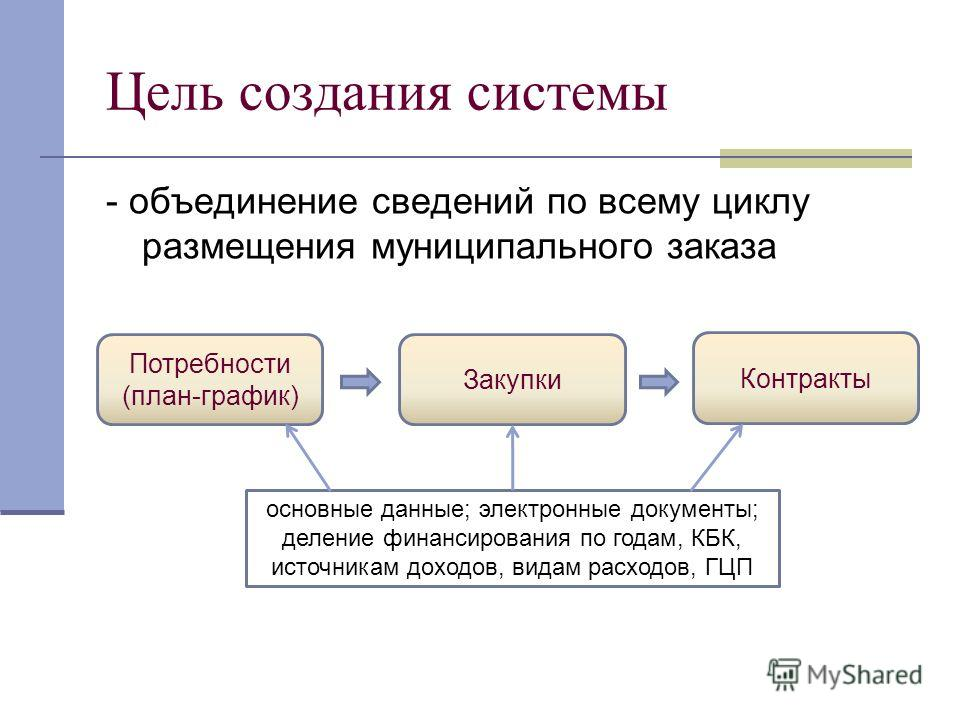 Цель создания системы - объединение сведений по всему циклу размещения муниципального заказа Потребности (план-график) Закупки Контракты основные данные; электронные документы; деление финансирования по годам, КБК, источникам доходов, видам расходов,