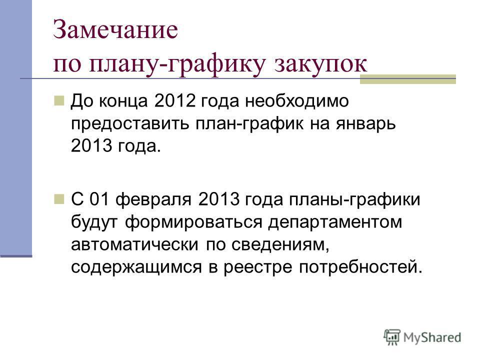 Замечание по плану-графику закупок До конца 2012 года необходимо предоставить план-график на январь 2013 года. С 01 февраля 2013 года планы-графики будут формироваться департаментом автоматически по сведениям, содержащимся в реестре потребностей.
