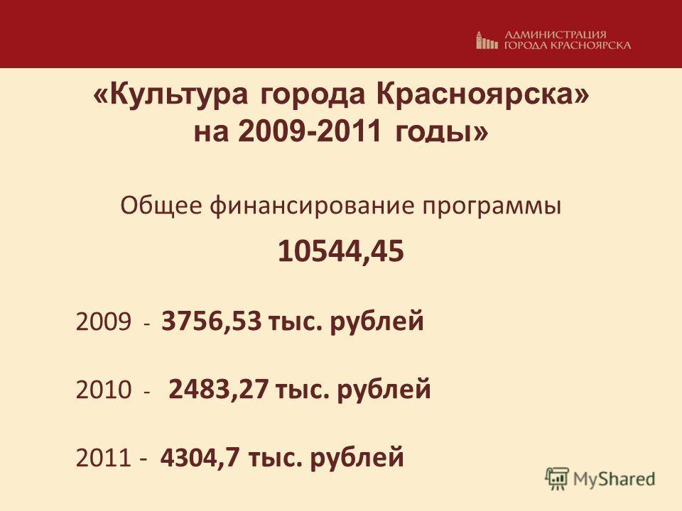 «Культура города Красноярска» на 2009-2011 годы» Общее финансирование программы 10544,45 2009 - 3756,53 тыс. рублей 2010 - 2483,27 тыс. рублей 2011 - 4304,7 тыс. рублей