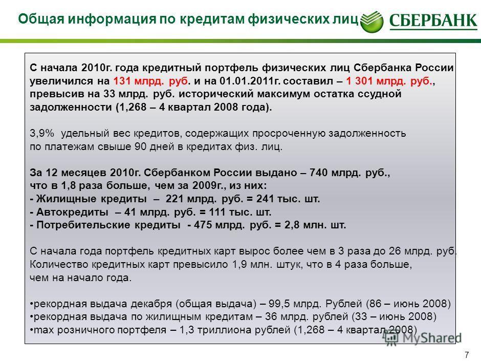 6 История стоимости жилищного кредита Сбербанка России (в рублях). 2008 год комиссии за выдачу кредита 1 - 4% от суммы кредита Ставки по кредиту до регистрации ипотеки 11,75-15,5% Ставки по кредиту после регистрации ипотеки 10,25-14% 2009 год комисси