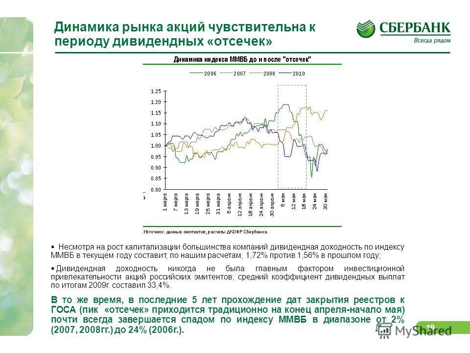 18 Динамика индекса РТС и совокупного свободного денежного потока (FCFF) Прогнозы свободных денежных потоков российских компаний, акции которых включены в базу расчета индекса РТС, продолжают пересматриваться в сторону повышения; Если соотносить FCFF