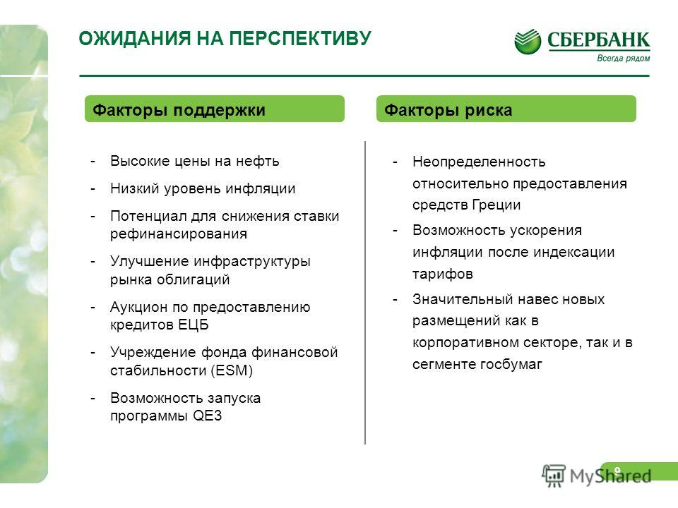 9 ОЖИДАНИЯ НА ПЕРСПЕКТИВУ -Высокие цены на нефть -Низкий уровень инфляции -Потенциал для снижения ставки рефинансирования -Улучшение инфраструктуры рынка облигаций -Аукцион по предоставлению кредитов ЕЦБ -Учреждение фонда финансовой стабильности (ESM