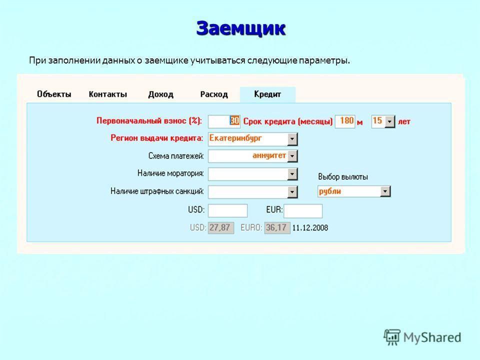 Заемщик При заполнении данных о заемщике учитываться следующие параметры.