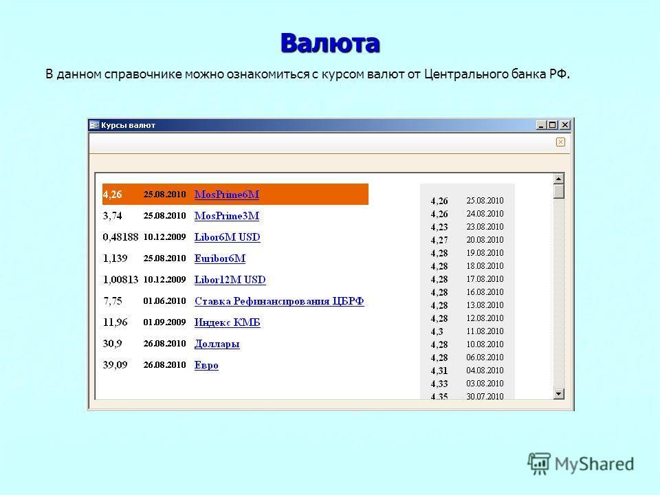 Валюта В данном справочнике можно ознакомиться с курсом валют от Центрального банка РФ.