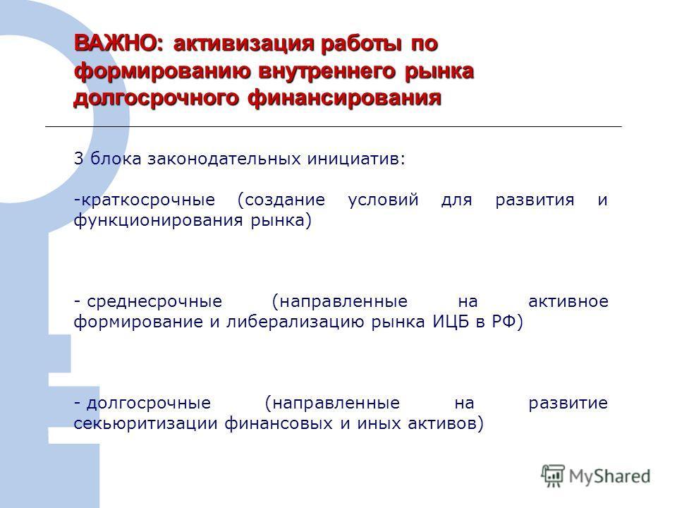 7 ВАЖНО: активизация работы по формированию внутреннего рынка долгосрочного финансирования 3 блока законодательных инициатив: -краткосрочные (создание условий для развития и функционирования рынка) - среднесрочные (направленные на активное формирован