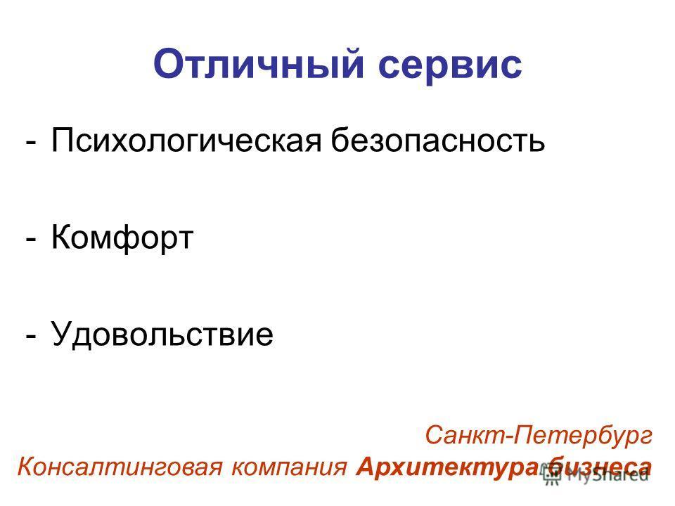 Отличный сервис -Психологическая безопасность -Комфорт -Удовольствие Санкт-Петербург Консалтинговая компания Архитектура бизнеса
