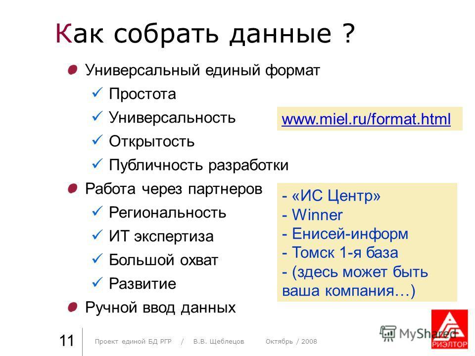 Как собрать данные ? Практика стиля / И. О. Фамилия 11 Универсальный единый формат Простота Универсальность Открытость Публичность разработки Работа через партнеров Региональность ИТ экспертиза Большой охват Развитие Ручной ввод данных www.miel.ru/fo
