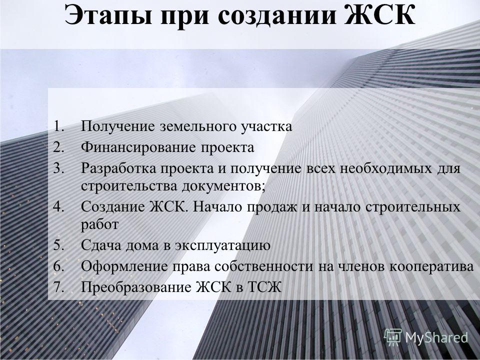 организационно правовая форма жилищно строительного кооператива