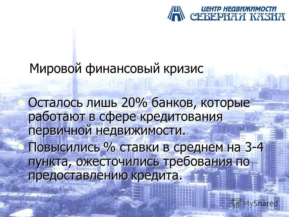 Мировой финансовый кризис Мировой финансовый кризис Осталось лишь 20% банков, которые работают в сфере кредитования первичной недвижимости. Осталось лишь 20% банков, которые работают в сфере кредитования первичной недвижимости. Повысились % ставки в