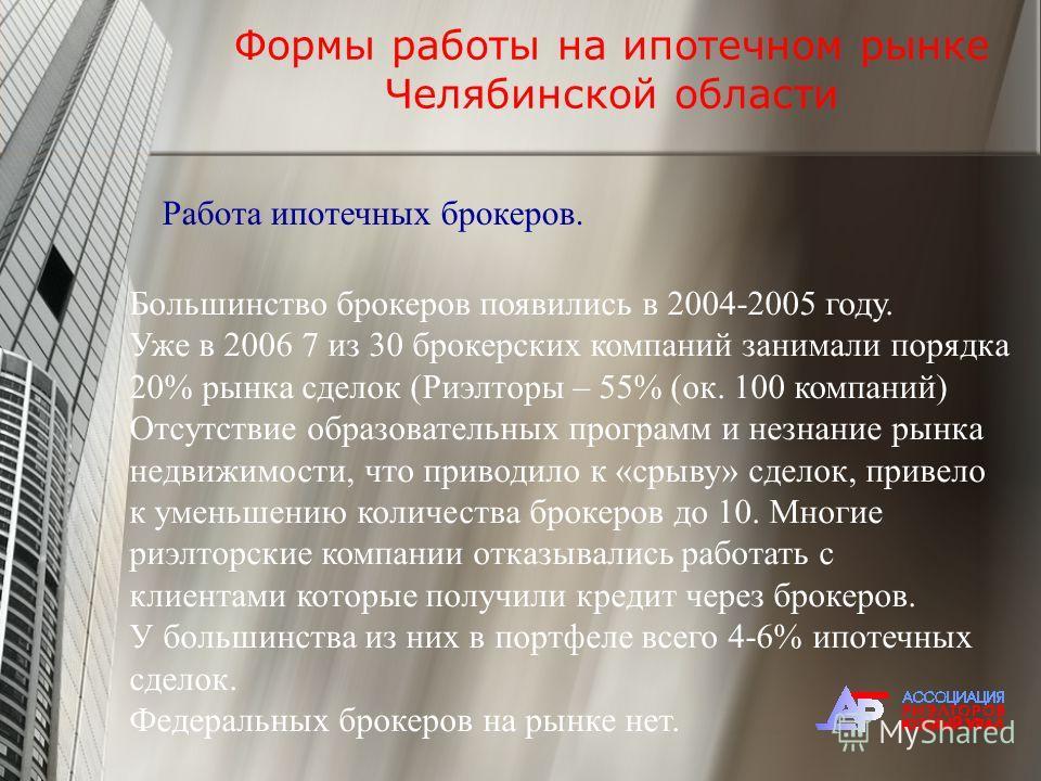 Формы работы на ипотечном рынке Челябинской области Работа ипотечных брокеров. Большинство брокеров появились в 2004-2005 году. Уже в 2006 7 из 30 брокерских компаний занимали порядка 20% рынка сделок (Риэлторы – 55% (ок. 100 компаний) Отсутствие обр