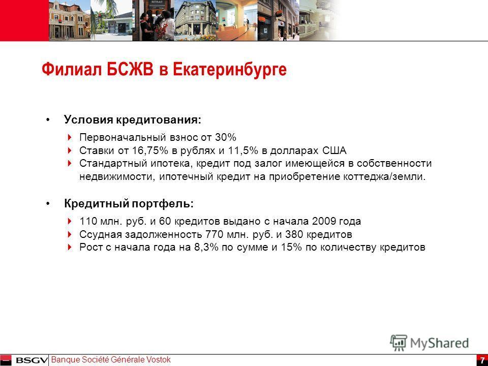 JJ Mois Année Banque Société Générale Vostok 7 Филиал БСЖВ в Екатеринбурге Условия кредитования: Первоначальный взнос от 30% Ставки от 16,75% в рублях и 11,5% в долларах США Стандартный ипотека, кредит под залог имеющейся в собственности недвижимости
