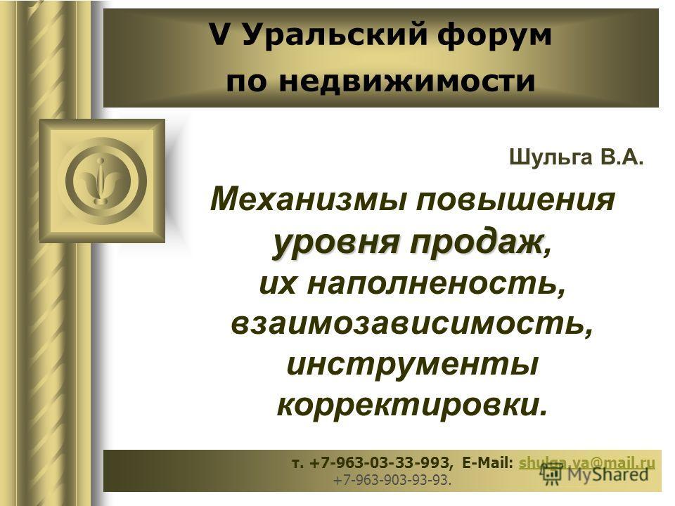V Уральский форум по недвижимости Шульга В.А. уровня продаж Механизмы повышения уровня продаж, их наполненость, взаимозависимость, инструменты корректировки. т. +7-963-03-33-993, E-Mail: shulga.va@mail.ru +7-963-903-93-93. _____________shulga.va@mail