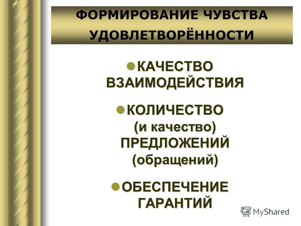 КАЧЕСТВО ВЗАИМОДЕЙСТВИЯ КАЧЕСТВО ВЗАИМОДЕЙСТВИЯ КОЛИЧЕСТВО (и качество) ПРЕДЛОЖЕНИЙ (обращений) КОЛИЧЕСТВО (и качество) ПРЕДЛОЖЕНИЙ (обращений) ОБЕСПЕЧЕНИЕ ГАРАНТИЙ ОБЕСПЕЧЕНИЕ ГАРАНТИЙ ФОРМИРОВАНИЕ ЧУВСТВА УДОВЛЕТВОРЁННОСТИ