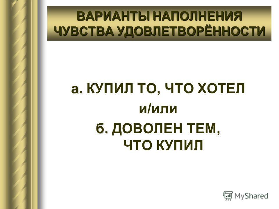 ВАРИАНТЫ НАПОЛНЕНИЯ ЧУВСТВА УДОВЛЕТВОРЁННОСТИ а. а. КУПИЛ ТО, ЧТО ХОТЕЛ и/или б. б. ДОВОЛЕН ТЕМ, ЧТО КУПИЛ