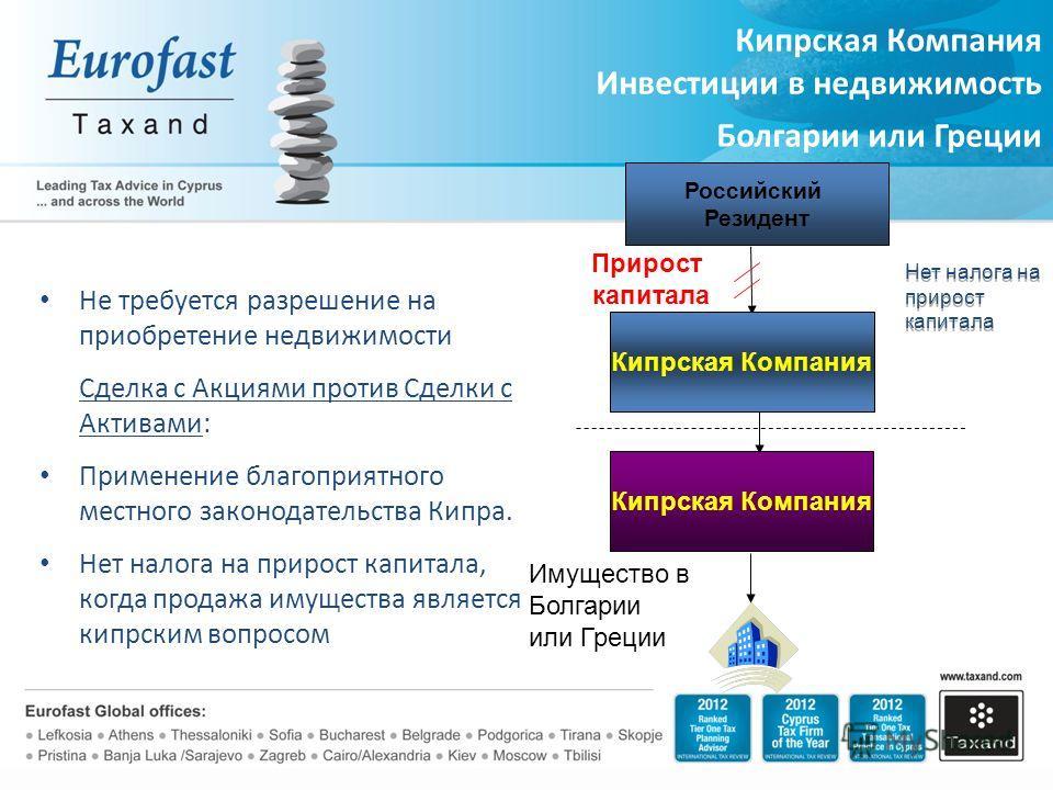 Не требуется разрешение на приобретение недвижимости Сделка с Акциями против Сделки с Активами: Применение благоприятного местного законодательства Кипра. Нет налога на прирост капитала, когда продажа имущества является кипрским вопросом Кипрская Ком