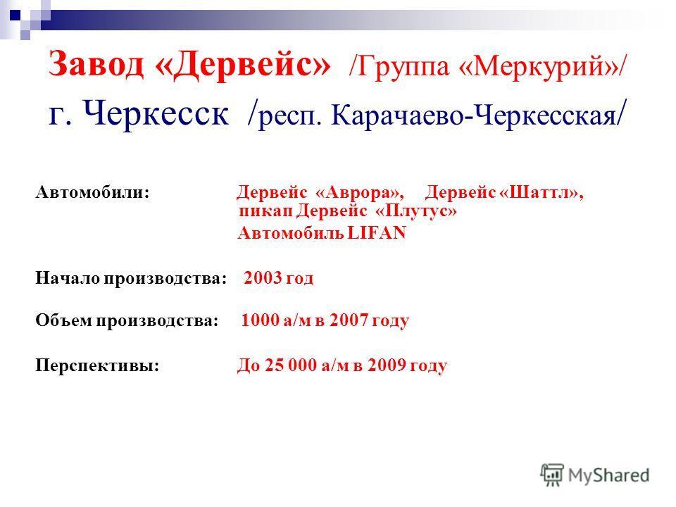 Завод «Дервейс» /Группа «Меркурий»/ г. Черкесск / респ. Карачаево-Черкесская / Автомобили: Дервейс «Аврора», Дервейс «Шаттл», пикап Дервейс «Плутус» Автомобиль LIFAN Начало производства: 2003 год Объем производства: 1000 а/м в 2007 году Перспективы:
