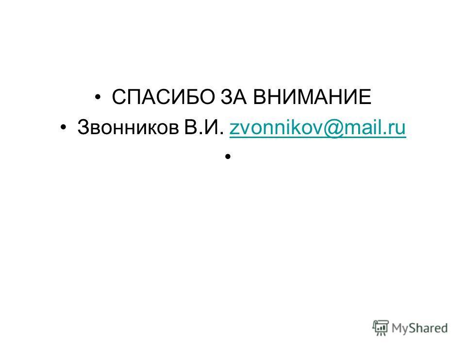 СПАСИБО ЗА ВНИМАНИЕ Звонников В.И. zvonnikov@mail.ruzvonnikov@mail.ru