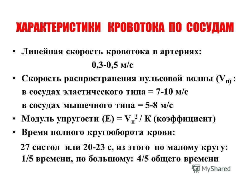 ХАРАКТЕРИСТИКИ КРОВОТОКА ПО СОСУДАМ Линейная скорость кровотока в артериях: 0,3-0,5 м/с Скорость распространения пульсовой волны (V п) : в сосудах эластического типа = 7-10 м/с в сосудах мышечного типа = 5-8 м/с Модуль упругости (Е) = V п 2 / К (коэф