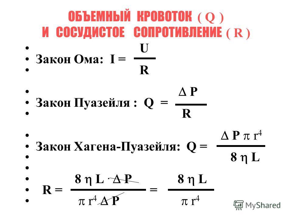 ОБЪЕМНЫЙ КРОВОТОК ( Q ) И СОСУДИСТОЕ СОПРОТИВЛЕНИЕ ( R ) U Закон Ома: I = R P Закон Пуазейля : Q = R P r 4 Закон Хагена-Пуазейля: Q = 8 L 8 L. P 8 L R = = r 4 P r 4