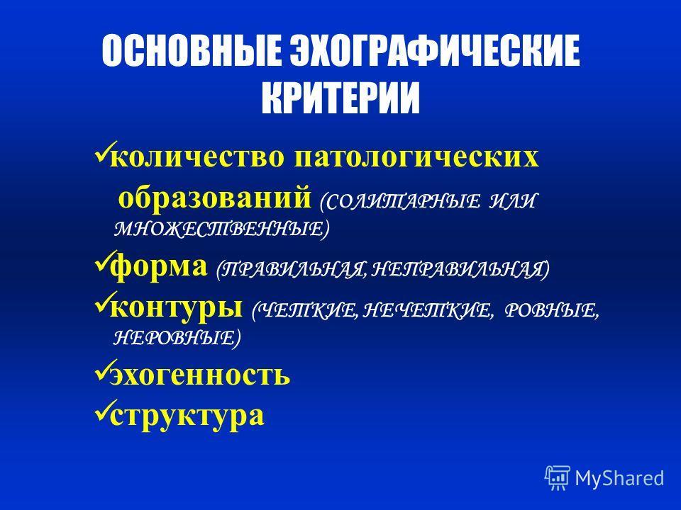 ОСНОВНЫЕ ЭХОГРАФИЧЕСКИЕ КРИТЕРИИ количество патологических образований (СОЛИТАРНЫЕ ИЛИ МНОЖЕСТВЕННЫЕ) форма (ПРАВИЛЬНАЯ, НЕПРАВИЛЬНАЯ) контуры (ЧЕТКИЕ, НЕЧЕТКИЕ, РОВНЫЕ, НЕРОВНЫЕ) эхогенность структура