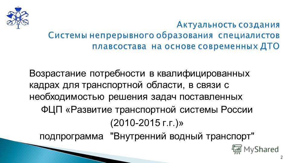 Возрастание потребности в квалифицированных кадрах для транспортной области, в связи с необходимостью решения задач поставленных ФЦП «Развитие транспортной системы России (2010-2015 г.г.)» подпрограмма