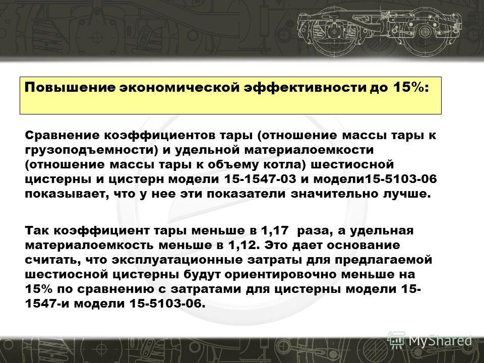 Повышение экономической эффективности до 15%: Сравнение коэффициентов тары (отношение массы тары к грузоподъемности) и удельной материалоемкости (отношение массы тары к объему котла) шестиосной цистерны и цистерн модели 15-1547-03 и модели15-5103-06