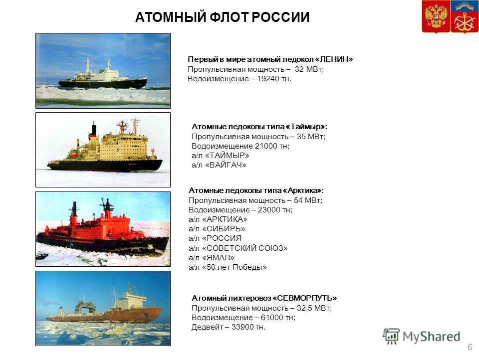 АТОМНЫЙ ФЛОТ РОССИИ 3 6 Первый в мире атомный ледокол «ЛЕНИН» Пропульсивная мощность – 32 МВт; Водоизмещение – 19240 тн. Атомные ледоколы типа «Арктика»: Пропульсивная мощность – 54 МВт; Водоизмещение – 23000 тн; а/л «АРКТИКА» а/л «СИБИРЬ» а/л «РОССИ