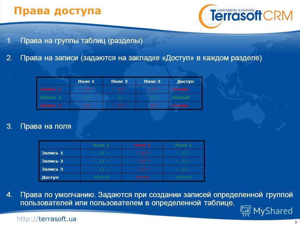 9 Права доступа 1.Права на группы таблиц (разделы) 2.Права на записи (задаются на закладке «Доступ» в каждом разделе) 3.Права на поля 4.Права по умолчанию. Задаются при создании записей определенной группой пользователей или пользователем в определен