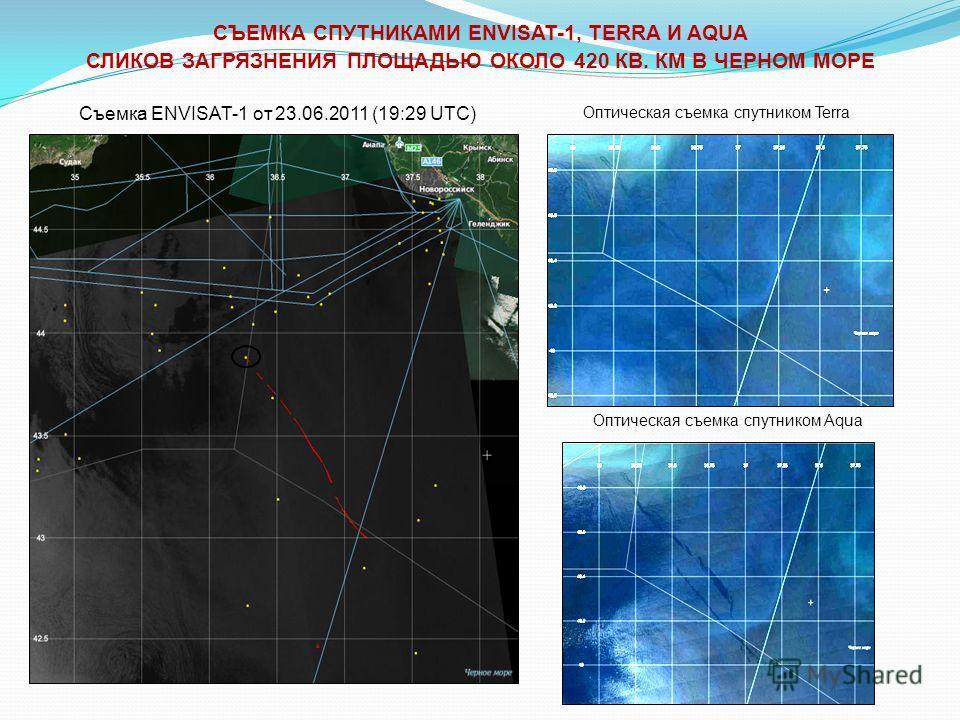 Оптическая съемка спутником Aqua Оптическая съемка спутником Terra Съемка ENVISAT-1 от 23.06.2011 (19:29 UTC) СЪЕМКА СПУТНИКАМИ ENVISAT-1, TERRA И AQUA СЛИКОВ ЗАГРЯЗНЕНИЯ ПЛОЩАДЬЮ ОКОЛО 420 КВ. КМ В ЧЕРНОМ МОРЕ