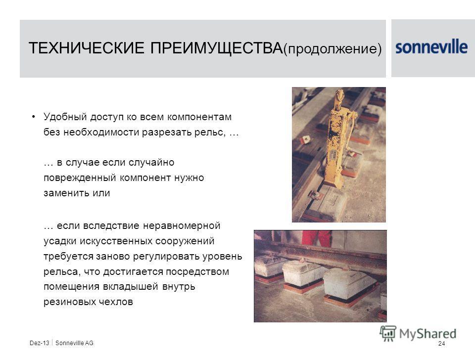 Dez-13 Sonneville AG 24 Удобный доступ ко всем компонентам без необходимости разрезать рельс, … … в случае если случайно поврежденный компонент нужно заменить или … если вследствие неравномерной усадки искусственных сооружений требуется заново регули