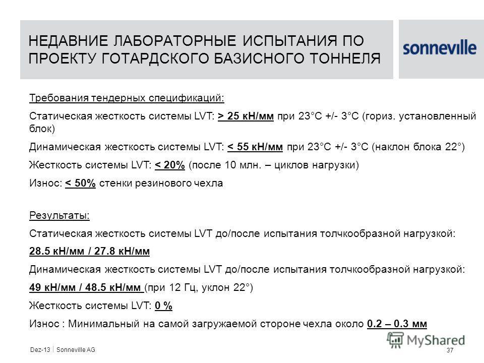 Dez-13 Sonneville AG 37 Требования тендерных спецификаций: Статическая жесткость системы LVT: > 25 кН/мм при 23°C +/- 3°C (гориз. установленный блок) Динамическая жесткость системы LVT: < 55 кН/мм при 23°C +/- 3°C (наклон блока 22°) Жесткость системы