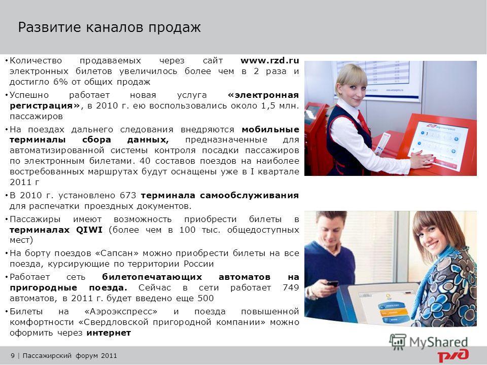 9 | Пассажирский форум 2011 Развитие каналов продаж Количество продаваемых через сайт www.rzd.ru электронных билетов увеличилось более чем в 2 раза и достигло 6% от общих продаж Успешно работает новая услуга «электронная регистрация», в 2010 г. ею во