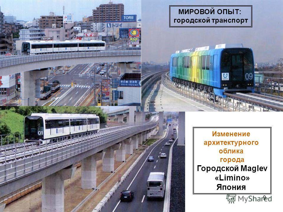 9 Изменение архитектурного облика города Городской Maglev «Limino» Япония МИРОВОЙ ОПЫТ: городской транспорт