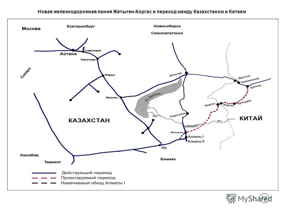 12 Новая железнодорожная линия Жетыген-Коргас и переход между Казахстаном и Китаем