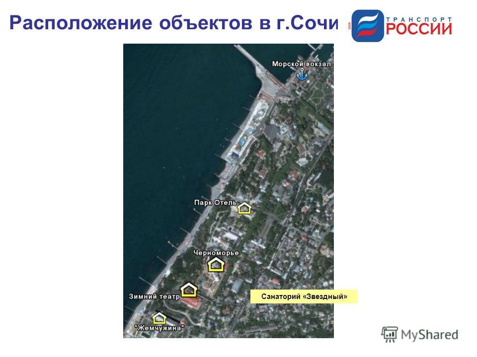 Расположение объектов в г.Сочи Санаторий «Звездный»