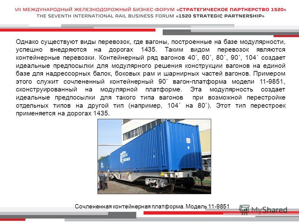 Однако существуют виды перевозок, где вагоны, построенные на базе модулярности, успешно внедряются на дорогах 1435. Таким видом перевозок являются контейнерные перевозки. Контейнерный ряд вагонов 40´, 60´, 80´, 90´, 104´ создает идеальные предпосылки