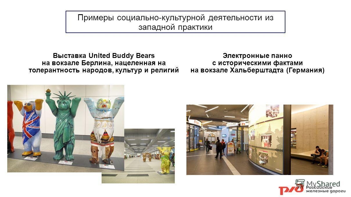 Примеры социально-культурной деятельности из западной практики Выставка United Buddy Bears на вокзале Берлина, нацеленная на толерантность народов, культур и религий Электронные панно с историческими фактами на вокзале Хальберштадта (Германия)