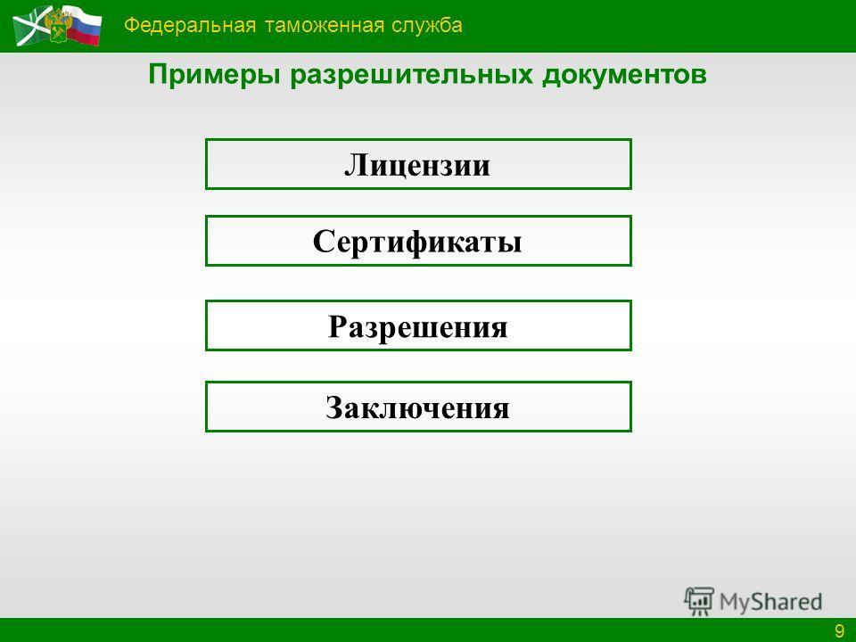 Федеральная таможенная служба 9 Примеры разрешительных документов Лицензии Сертификаты Разрешения Заключения