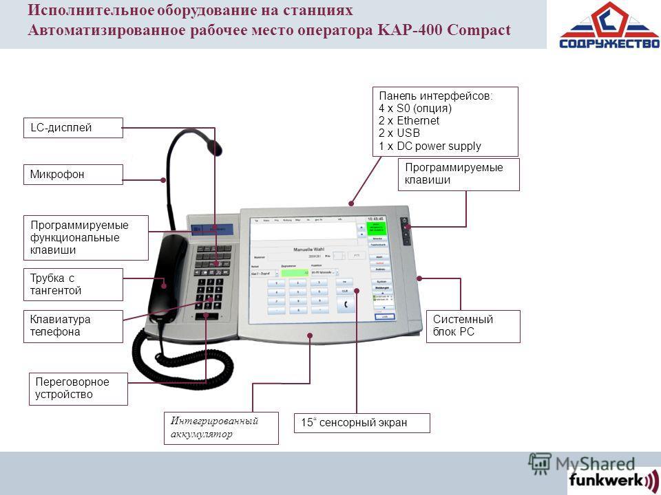 LC-дисплей Трубка с тангентой Программируемые функциональные клавиши Клавиатура телефона Переговорное устройство Интегрированный аккумулятор 15 сенсорный экран Системный блок PC Микрофон Программируемые клавиши Панель интерфейсов: 4 x S0 (опция) 2 x