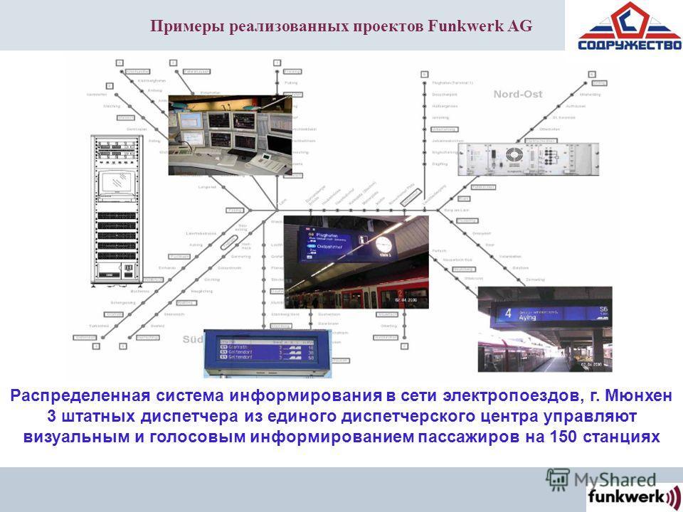 Примеры реализованных проектов Funkwerk AG Распределенная система информирования в сети электропоездов, г. Мюнхен 3 штатных диспетчера из единого диспетчерского центра управляют визуальным и голосовым информированием пассажиров на 150 станциях