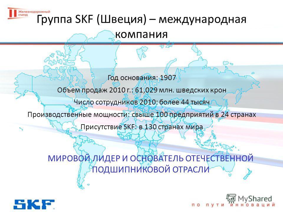 Группа SKF (Швеция) – международная компания Год основания: 1907 Объем продаж 2010 г.: 61,029 млн. шведских крон Число сотрудников 2010: более 44 тысяч Производственные мощности: свыше 100 предприятий в 24 странах Присутствие SKF: в 130 странах мира