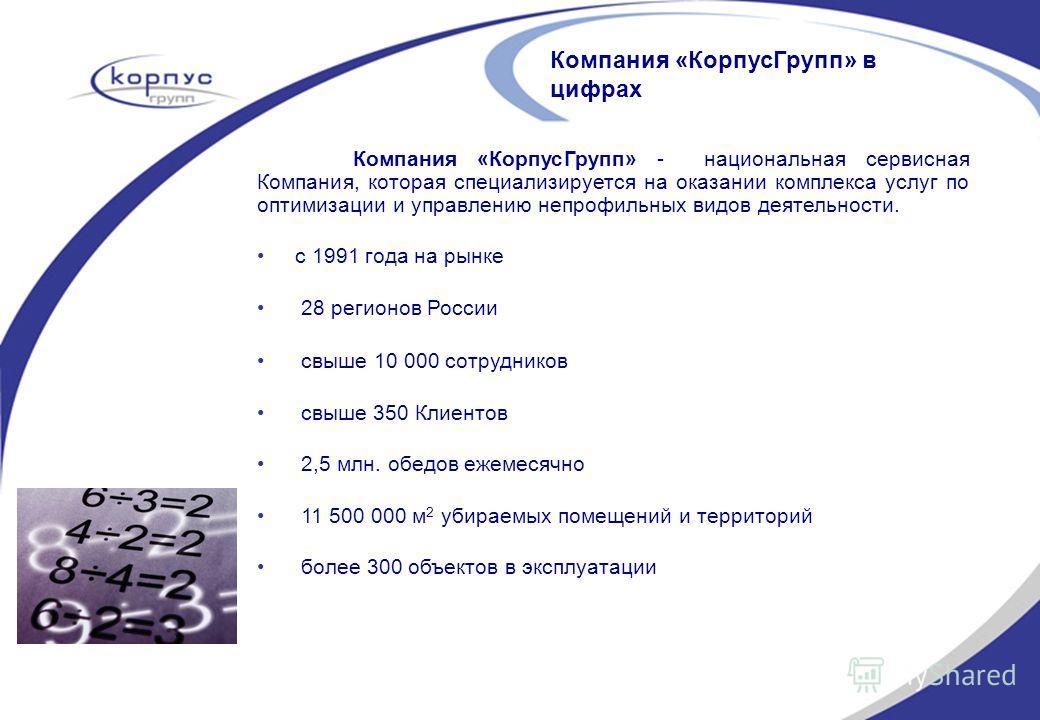 Компания «КорпусГрупп» в цифрах Компания «КорпусГрупп» - национальная сервисная Компания, которая специализируется на оказании комплекса услуг по оптимизации и управлению непрофильных видов деятельности. с 1991 года на рынке 28 регионов России свыше