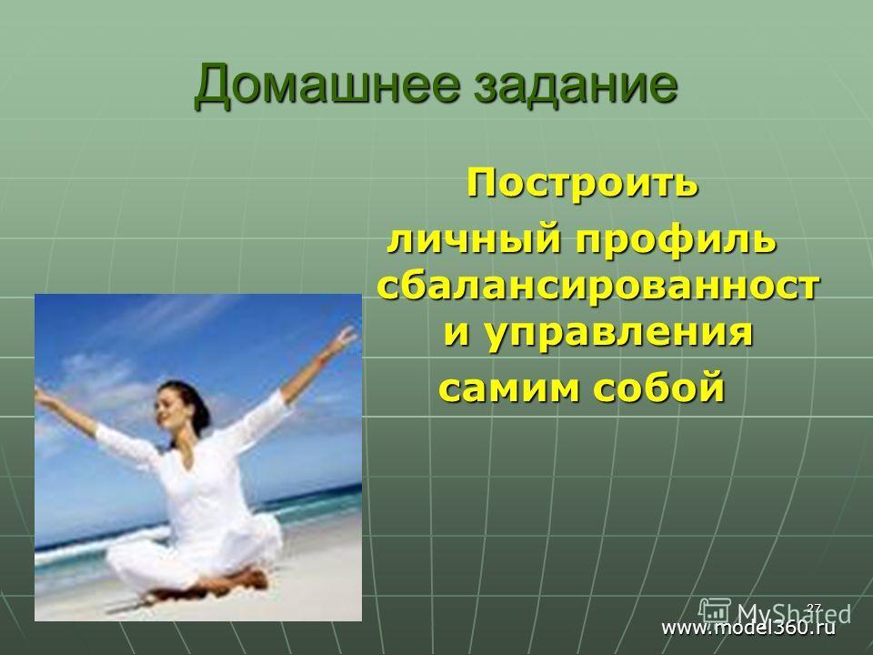 Домашнее задание Построить личный профиль сбалансированност и управления самим собой 27 www.model360.ru