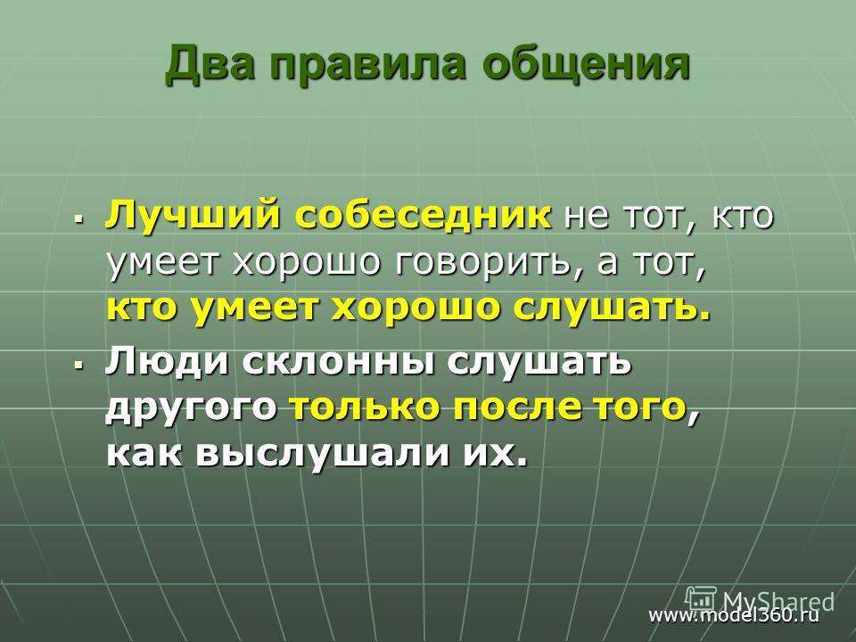 Два правила общения Лучший собеседник не тот, кто умеет хорошо говорить, а тот, кто умеет хорошо слушать. Лучший собеседник не тот, кто умеет хорошо говорить, а тот, кто умеет хорошо слушать. Люди склонны слушать другого только после того, как выслуш