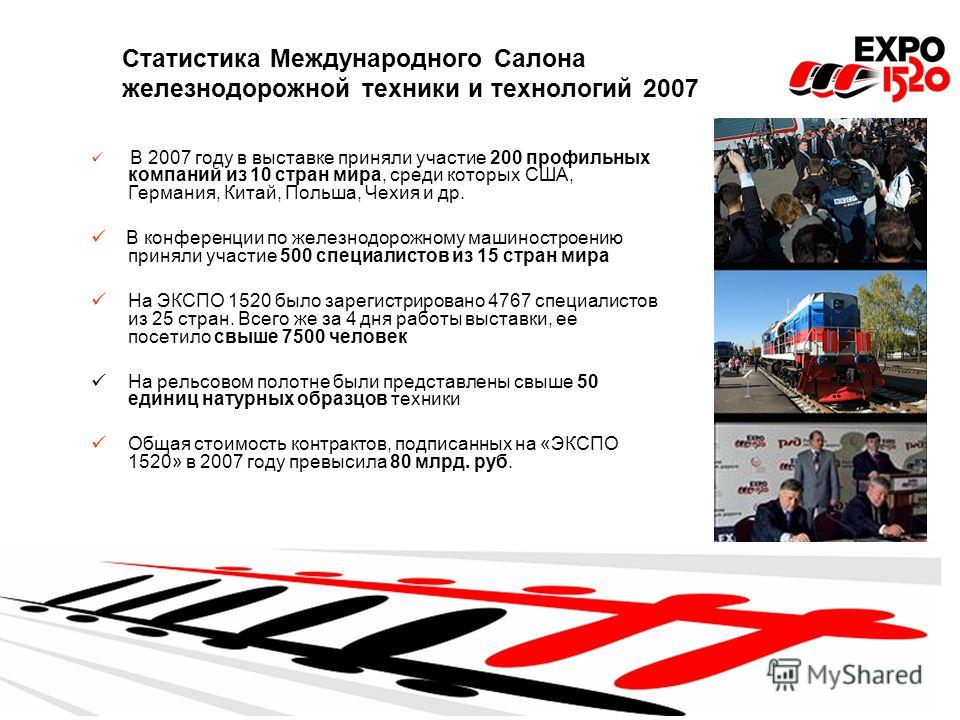 Статистика Международного Салона железнодорожной техники и технологий 2007 В 2007 году в выставке приняли участие 200 профильных компаний из 10 стран мира, среди которых США, Германия, Китай, Польша, Чехия и др. В конференции по железнодорожному маши