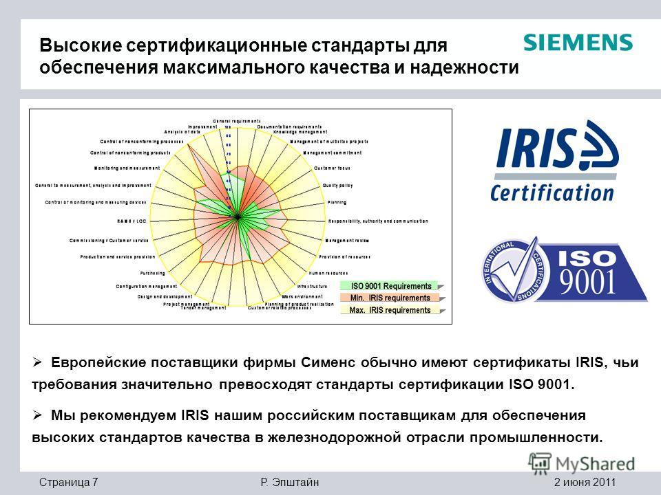 2 июня 2011Р. ЭпштайнСтраница 7 Высокие сертификационные стандарты для обеспечения максимального качества и надежности Европейские поставщики фирмы Сименс обычно имеют сертификаты IRIS, чьи требования значительно превосходят стандарты сертификации IS