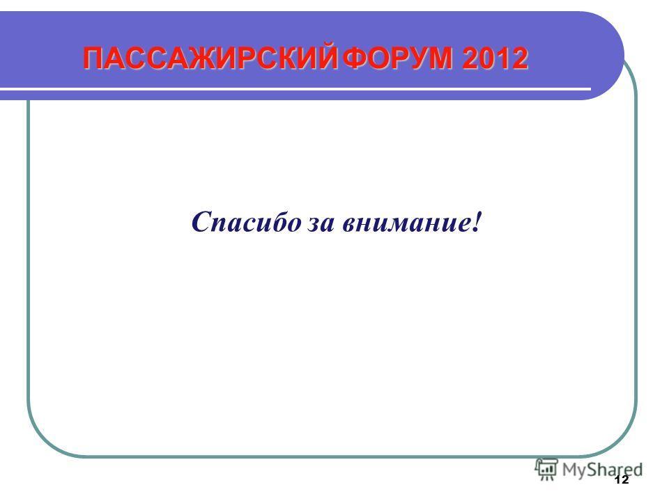 12 Спасибо за внимание! ПАССАЖИРСКИЙ ФОРУМ 2012