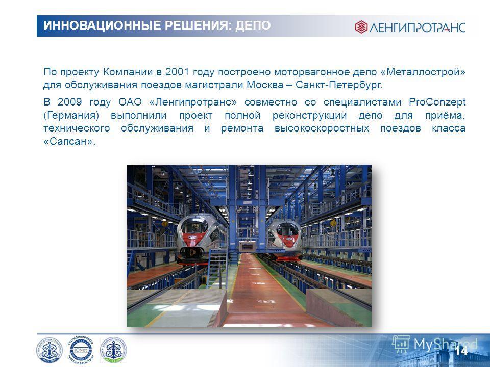 ИННОВАЦИОННЫЕ РЕШЕНИЯ: ДЕПО По проекту Компании в 2001 году построено моторвагонное депо «Металлострой» для обслуживания поездов магистрали Москва – Санкт-Петербург. В 2009 году ОАО «Ленгипротранс» совместно со специалистами ProConzept (Германия) вып