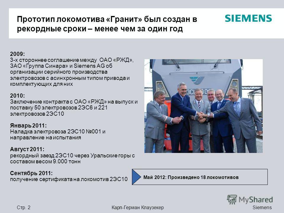 Siemens Карл-Герман КлаузекерСтр. 2 Прототип локомотива «Гранит» был создан в рекордные сроки – менее чем за один год 2009: 3-х стороннее соглашение между ОАО «РЖД», ЗАО «Группа Синара» и Siemens AG об организации серийного производства электровозов