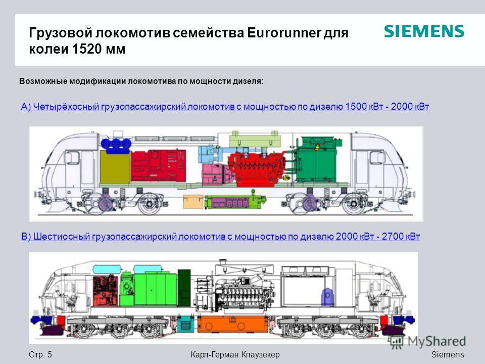 Siemens Карл-Герман КлаузекерСтр. 5 Грузовой локомотив семейства Eurorunner для колеи 1520 мм Возможные модификации локомотива по мощности дизеля: А) Четырёхосный грузопассажирский локомотив с мощностью по дизелю 1500 кВт - 2000 кВт В) Шестиосный гру